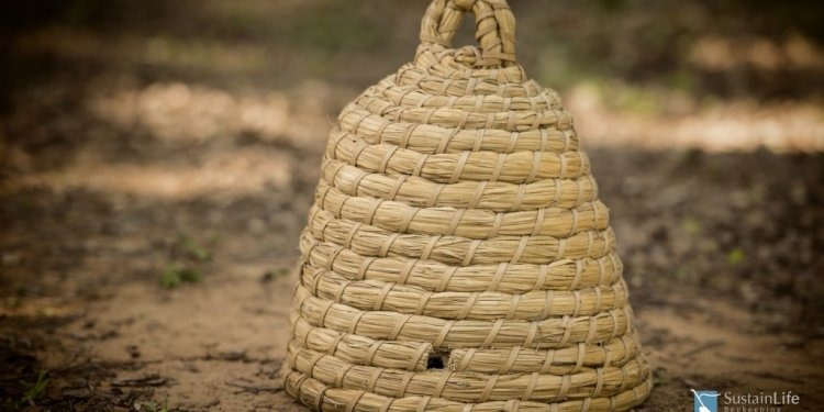 A straw skep beehive